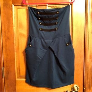 Strapless Blue Dress with Buttons